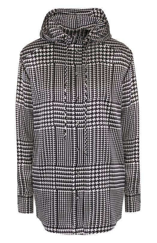 Купить Шелковая блуза с капюшоном и принтом Victoria, Victoria Beckham, SHVV 097B SS18 PRINTED SATIN, Португалия, Черно-белый, Шелк: 100%;
