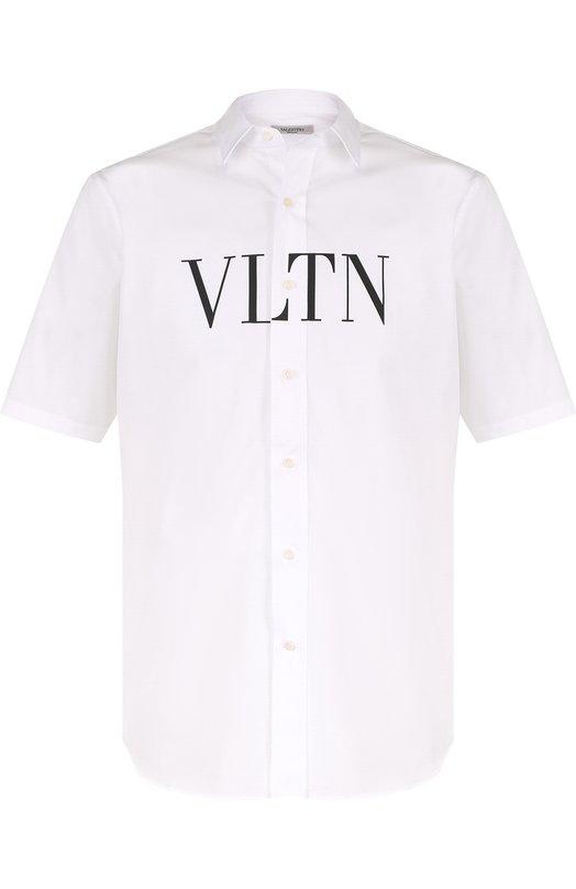 Купить Хлопковая рубашка с короткими рукавами Valentino, PV0AA711/1KN, Италия, Белый, Хлопок: 100%;