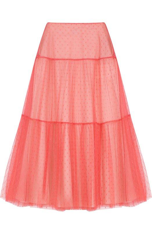 Однотонная юбка-миди REDVALENTINO, PR0RA2S5/1GK, Венгрия, Розовый, Полиамид: 100%; Подкладка-хлопок: 100%;  - купить