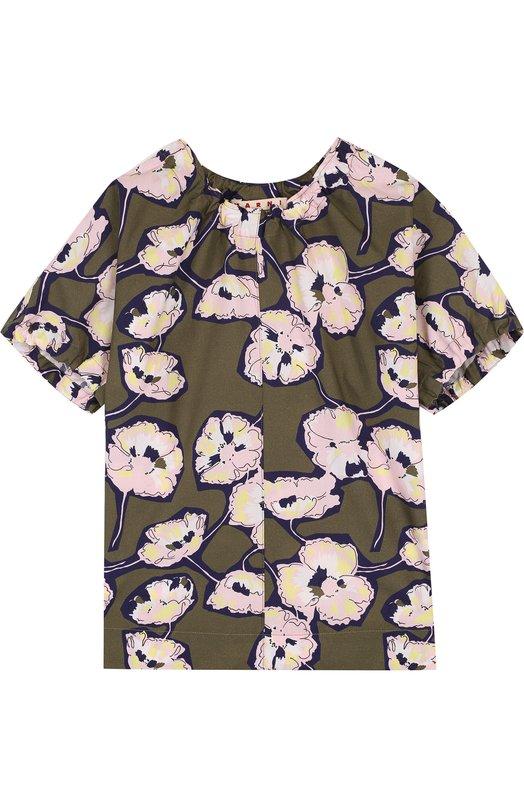 Хлопковая блуза прямого кроя с принтом Marni