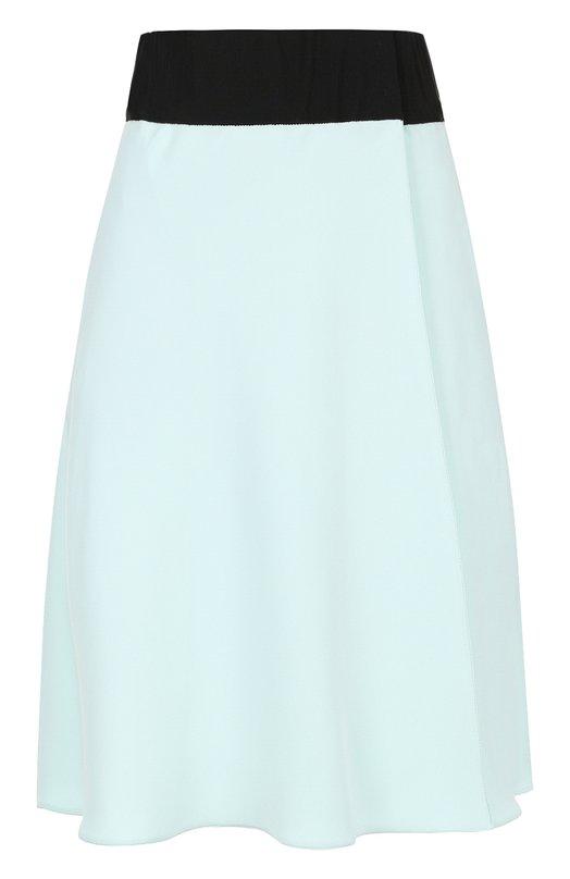 Купить Шелковая мини-юбка с контрастным поясом Giorgio Armani, WAN09T/WA170, Италия, Голубой, Шелк: 100%;