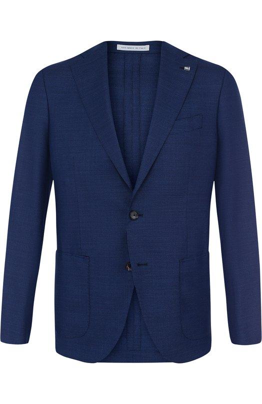 Однобортный шерстяной пиджак Sartoria Latorre, R0MA U30623, Италия, Темно-синий, Шерсть: 100%;  - купить