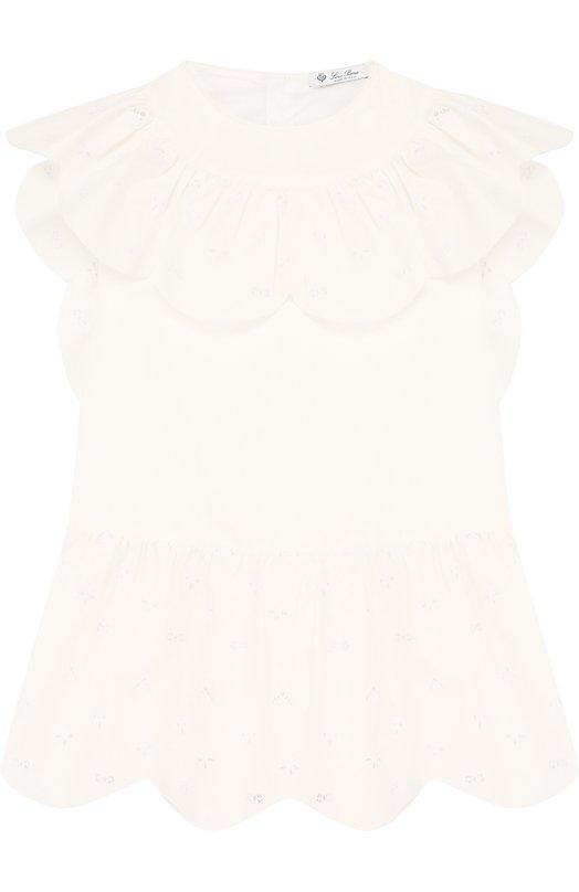 Купить Хлопковое мини-платье с оборками и вышивкой Loro Piana, FAI0550, Италия, Белый, Хлопок: 100%;