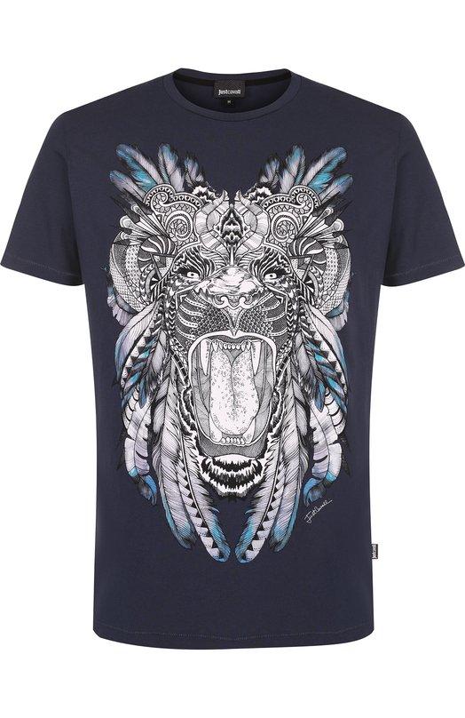 Купить Хлопковая футболка с принтом Just Cavalli, S03GC0468/N20663, Турция, Темно-синий, Хлопок: 100%;