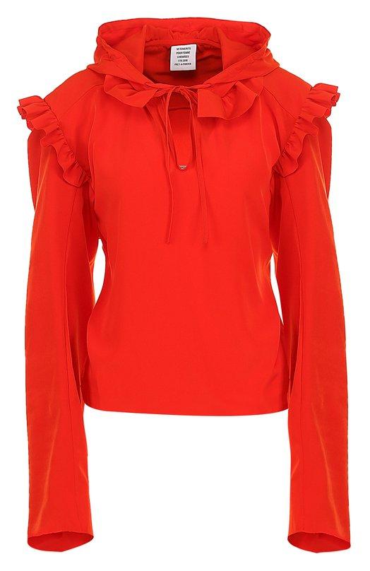 Купить Однотонная блуза свободного кроя с оборками Vetements, WSS18SH9, Португалия, Красный, Полиэстер: 100%;