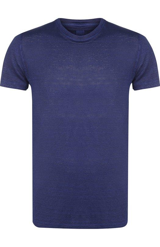Купить Льняная футболка с круглым вырезом 120% Lino, N0M7288/E908/301, Болгария, Синий, Лен: 100%;