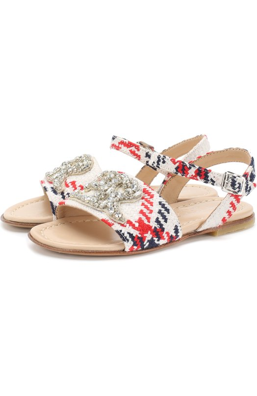 Текстильные сандалии на ремешке с кристаллами Ermanno Scervino