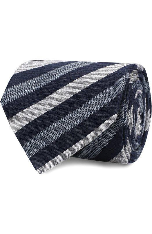 Купить Галстук из смеси льна и шелка Brioni, 063I00/P7461, Италия, Темно-синий, Лен: 67%; Шелк: 33%;