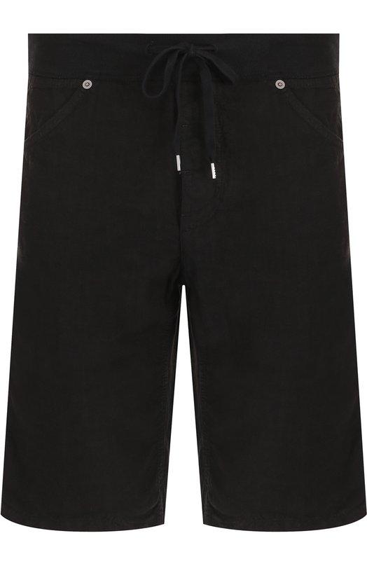 Купить Льняные шорты с поясом на кулиске 120% Lino, N0M2120/0253/001, Италия, Черный, Лен: 100%;