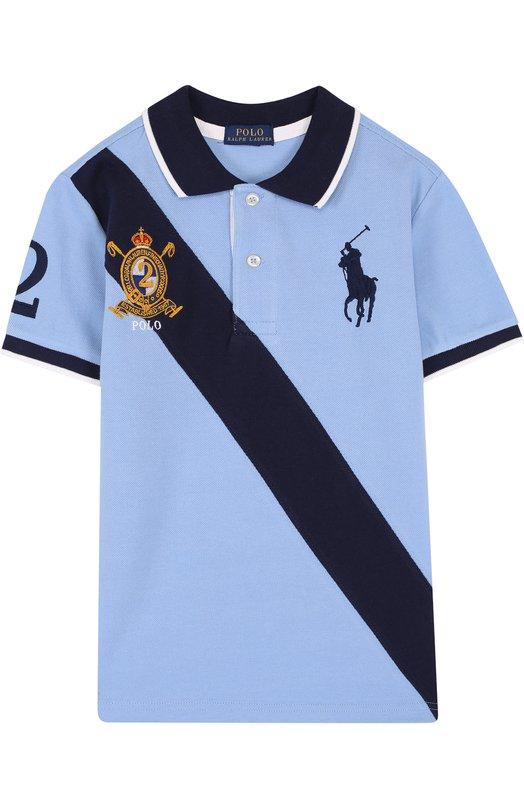 Купить Хлопковое поло с контрастной отделкой Polo Ralph Lauren, 323695603, Китай, Голубой, Хлопок: 100%;