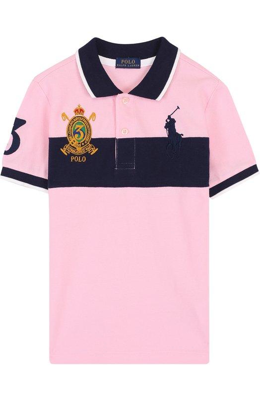 Купить Хлопковое поло с контрастной отделкой Polo Ralph Lauren, 322695605, Китай, Розовый, Хлопок: 100%;