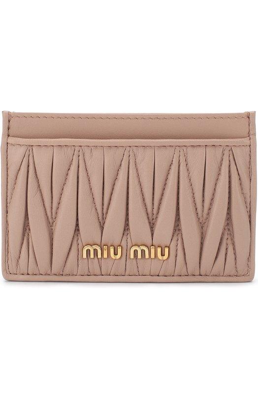 Купить Кожаный футляр для кредитных карт Miu Miu, 5MC208-N88-F0770, Италия, Бежевый, Кожа натуральная: 100%;