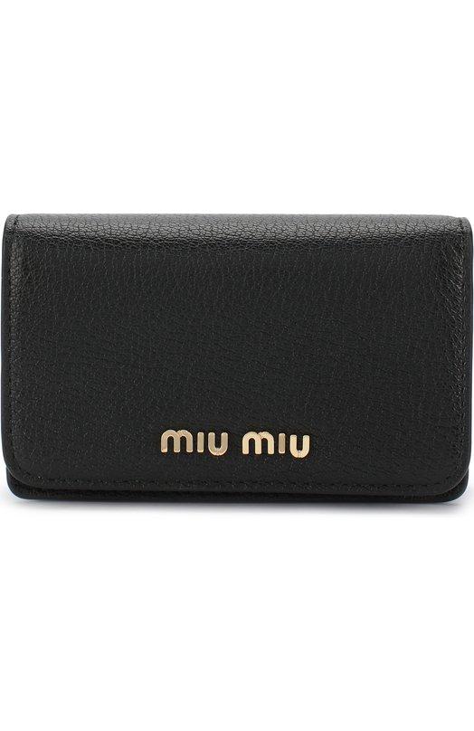 Купить Кожаный футляр для кредитных карт Miu Miu, 5MC011-2BJI-F0UMV, Италия, Черный, Кожа натуральная: 100%;