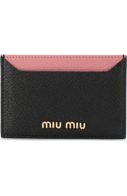 Купить Кожаный футляр для кредитных карт Miu Miu, 5MC208-2BJI-F0UMV, Италия, Черный, Кожа натуральная: 100%;