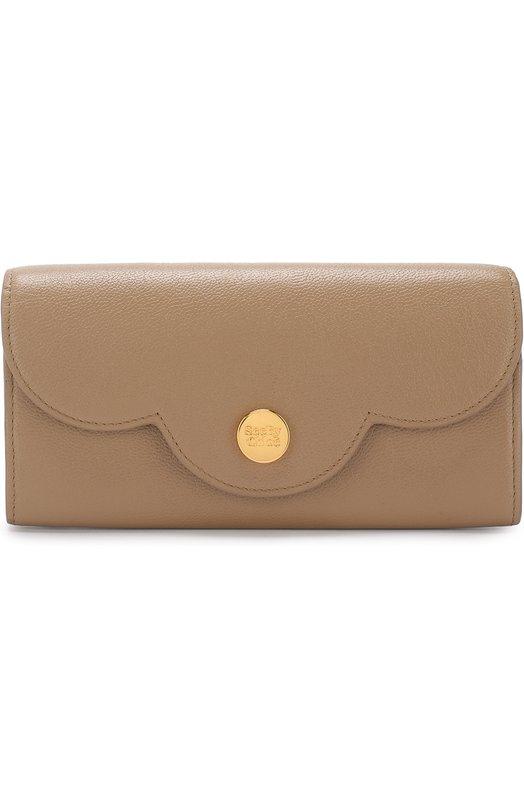 Купить Кожаный кошелек с клапаном See by Chloé, CHS18UP786388, Индия, Бежевый, Кожа натуральная: 100%;