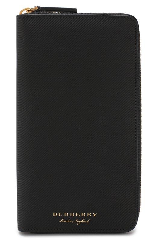 Купить Кожаное портмоне на молнии Burberry, 4055240, Италия, Черный, Кожа: 100%;