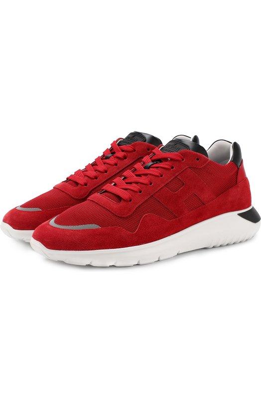 Купить Комбинированные кроссовки на шнуровке Hogan, GYM3710AJ10J4V6ED9, Италия, Красный, Текстиль: 80%; Кожа натуральная: 20%; Подошва-резина: 100%; Стелька-текстиль: 100%;