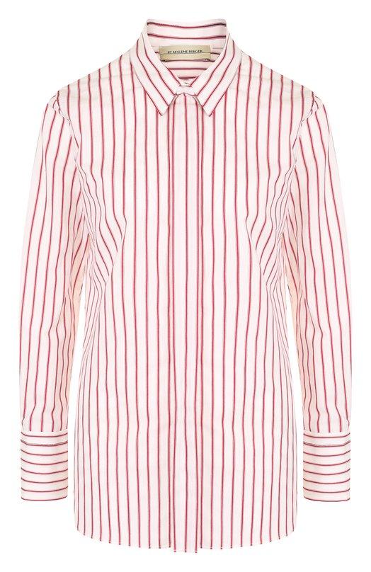 Купить Хлопковая блуза прямого кроя в полоску By Malene Birger, Q64835001/TIRANAMUS, Китай, Красный, Хлопок: 65%; Полиэстер: 32%; Эластан: 3%;