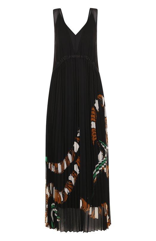 Купить Приталенное платье-миди с плиссированной юбкой с принтом By Malene Birger, Q64898001/RIPLIS, Китай, Черный, Полиэстер: 100%;