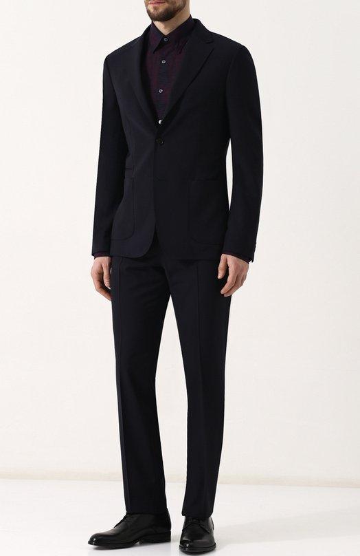 Купить Шерстяной костюм с пиджаком на двух пуговицах Z Zegna, 322880/2XPWGN, Турция, Темно-синий, Шерсть: 100%; Подкладка-полиэстер: 100%;