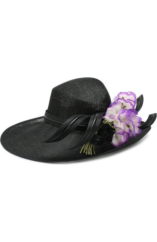 Купить Соломенная шляпа с декором в виде цветка Philip Treacy, 0C475, Великобритания, Черный, Солома: 100%;