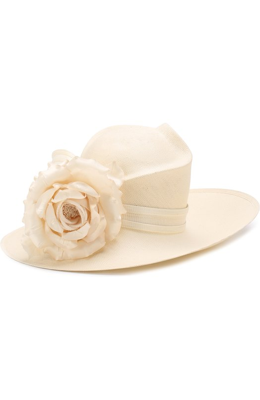 Купить Соломенная шляпа с декором в виде цветка Philip Treacy, 0C450, Великобритания, Кремовый, Солома: 100%;