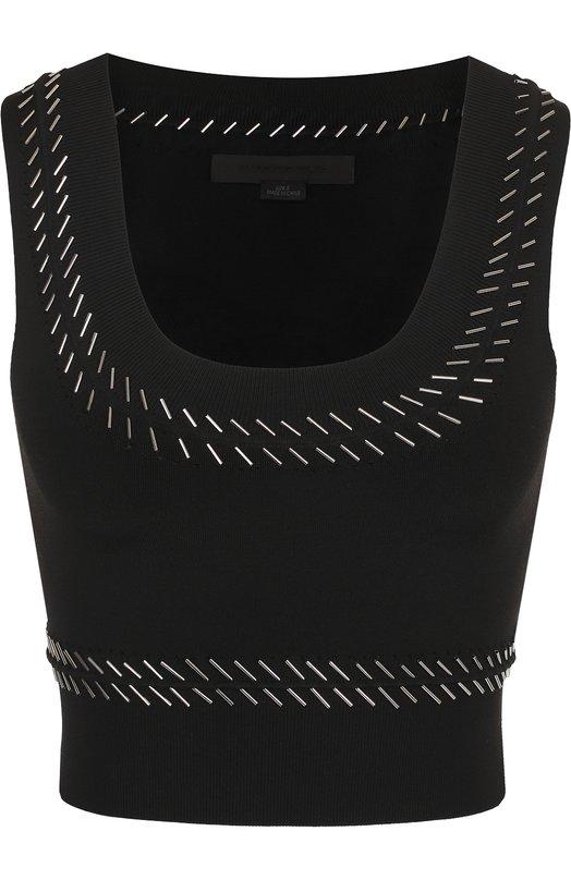 Купить Вязаный укороченный топ с вышивкой бисером Alexander Wang, 1K181060K6, Китай, Черный, Вискоза: 76%; Полиамид: 22%; Эластан: 2%; Хлопок: 100%;
