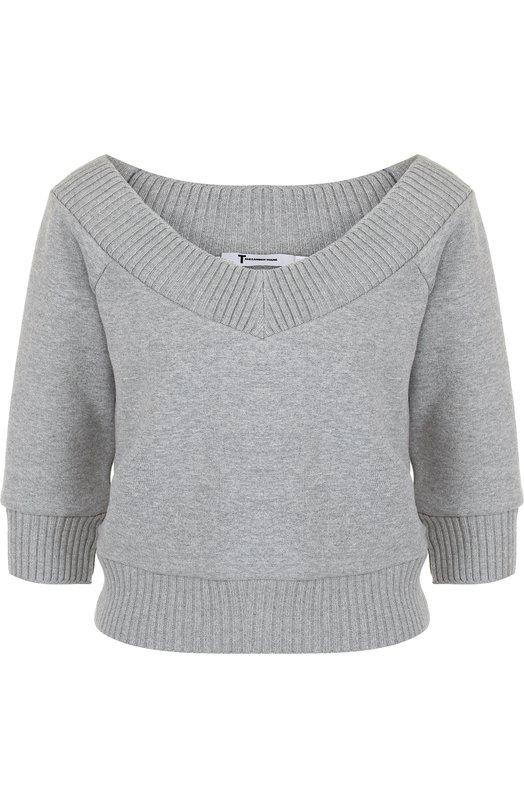 Купить Укороченный хлопковый пуловер с V-образным вырезом T by Alexander Wang, 4C181005C0, Китай, Серый, Хлопок: 74%; Полиэстер: 26%;