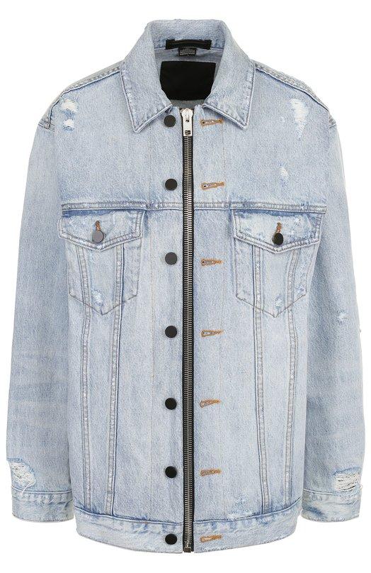 Купить Удлиненная джинсовая куртка свободного кроя Denim X Alexander Wang, 4D992213AC, Китай, Голубой, Хлопок: 100%;
