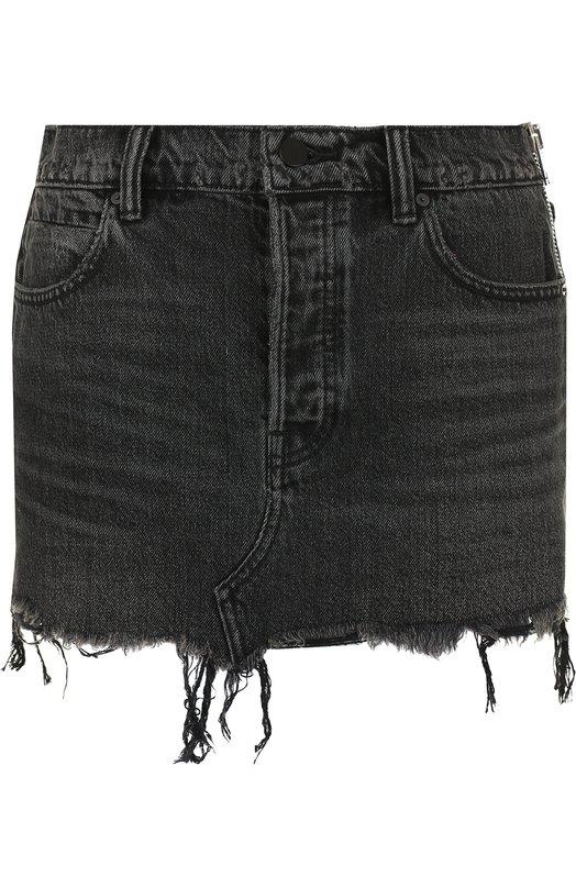 Купить Джинсовая мини-юбка с потертостями Denim X Alexander Wang, 4D995203AP, Китай, Серый, Хлопок: 100%;