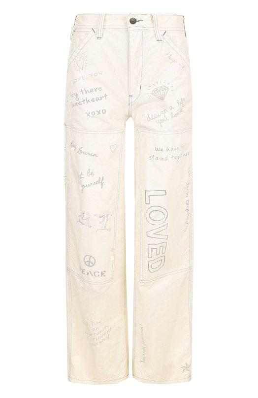 Купить Джинсы с завышенной талией и контрастным принтом Polo Ralph Lauren, 211695705, Китай, Бежевый, Хлопок: 100%;