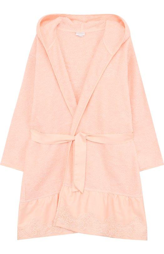 Купить Хлопковый халат с капюшоном и поясом La Perla, 51710/8A-14A, Италия, Розовый, Хлопок: 100%;