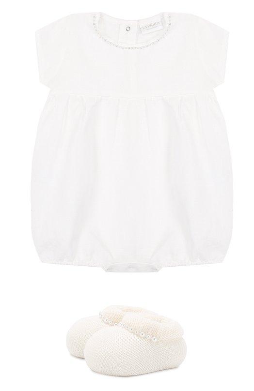 Купить Льняной комплект из боди с пинетками La Perla, 48557, Италия, Белый, Лен: 100%;