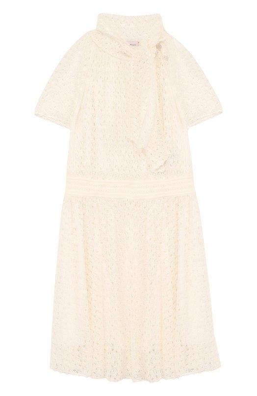 Купить Кружевное платье с воротником аскот Missoni, E18.BA.219590, Италия, Белый, Подкладка-шелк: 96%; Подкладка-эластан: 4%; Вискоза: 100%;