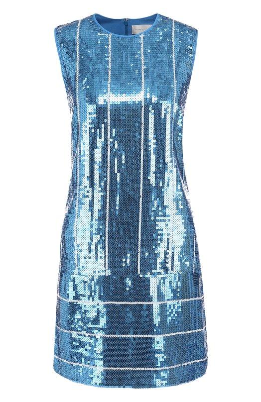 Купить Приталенное мини-платье с пайетками Victoria, Victoria Beckham, DRVV 551 SS18 SEQUIN STRIPE, Польша, Голубой, Подкладка-шелк: 100%; Полиэстер: 100%;