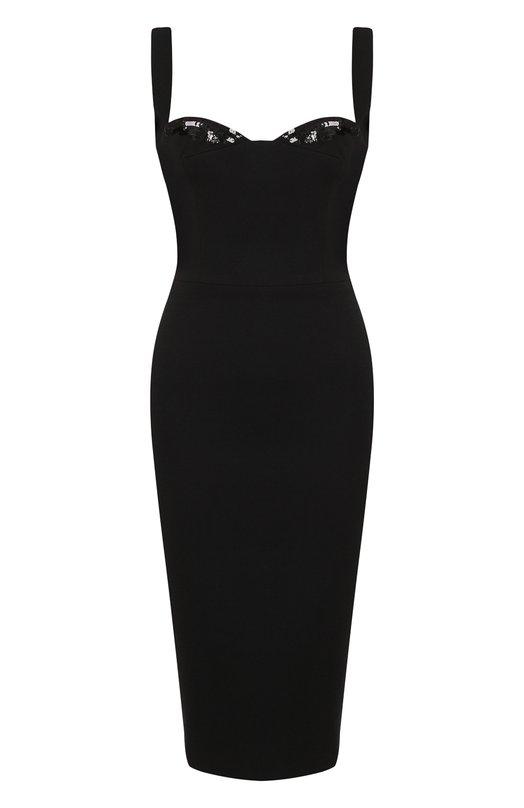 Купить Однотонное платье-футляр из смеси вискозы и хлопка Victoria Beckham, DR FIT 6458B MSS18 TECHNICAL CREPE, Великобритания, Черный, Вискоза: 57%; Хлопок: 43%; Подкладка-шелк: 100%;
