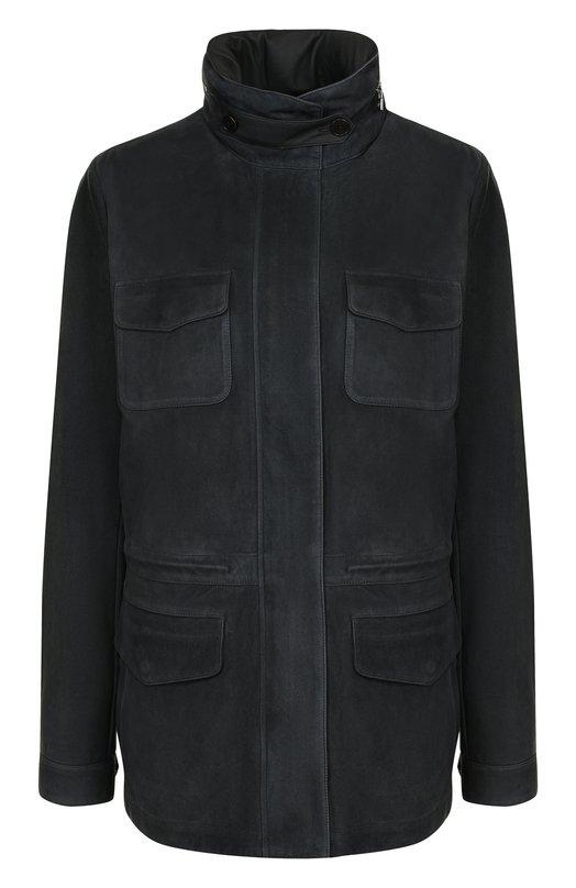 Купить Однотонная замшевая куртка с воротником-стойкой Loro Piana, FAI0324, Италия, Темно-серый, Замша натуральная: 100%;