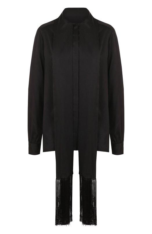 Купить Однотонная шелковая блуза с воротником-стойкой Hillier Bartley, TP 001 F12 CREPE SATIN, Италия, Черный, Шелк: 100%;
