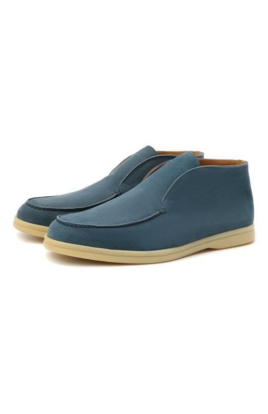 Купить Замшевые ботинки Open Walk без шнуровки Loro Piana, FAB4368, Италия, Голубой, Стелька-Кожа: 100%; Подошва-Резина: 100%; Замша натуральная: 100%; Подкладка-Кожа: 100%; Кожа: 100%; Низ-Кожа: 100%;