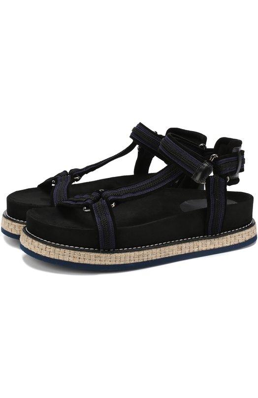 Комбинированные сандалии на джутовой подошве Moncler Moncler
