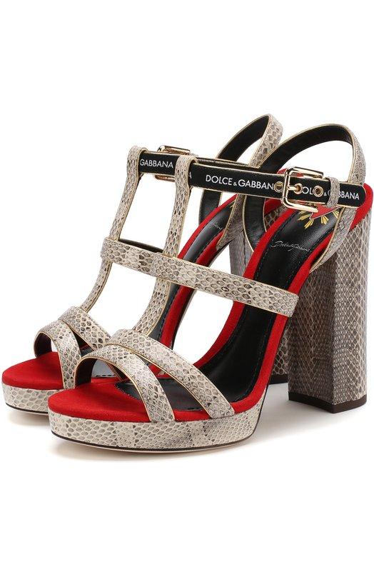 Купить Босоножки Keira из кожи змеи на устойчивом каблуке Dolce & Gabbana, CR0562/AN783, Италия, Серый, Кожа натуральная: 90%; Стелька-кожа: 100%; Подошва-кожа: 100%; Стелька-кожа: 100%; Полиэстер: 10%;