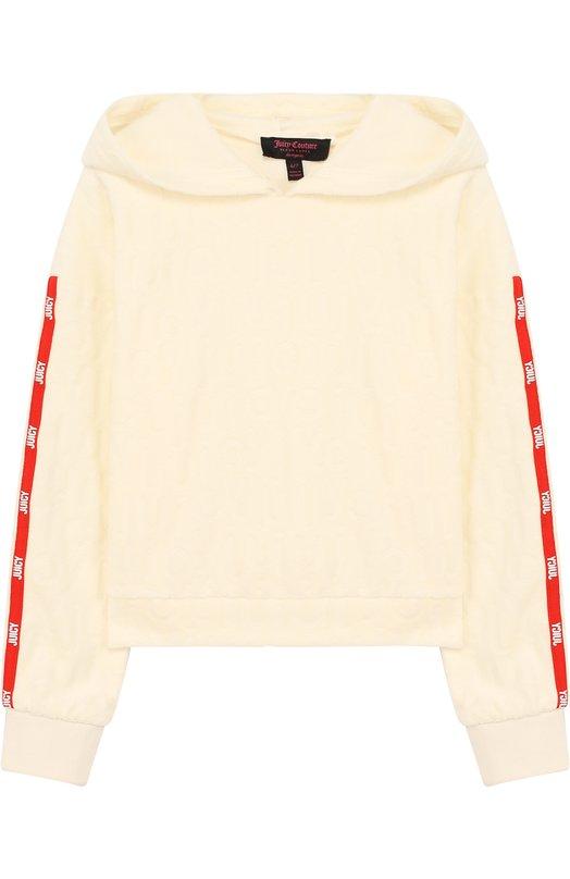 Купить Худи с фактурной отделкой Juicy Couture, GTKT129496, Вьетнам, Белый, Хлопок: 75%; Полиэстер: 25%;
