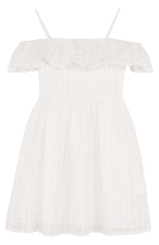 Купить Хлопковое платье с оборкой на тонких бретельках Polo Ralph Lauren, 313689588, Индия, Белый, Хлопок: 100%; Подкладка-хлопок: 100%;