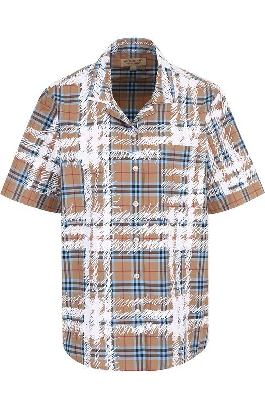 Купить Хлопковая блуза свободного кроя с коротким рукавом Burberry, 4072973, Китай, Бежевый, Хлопок: 100%;