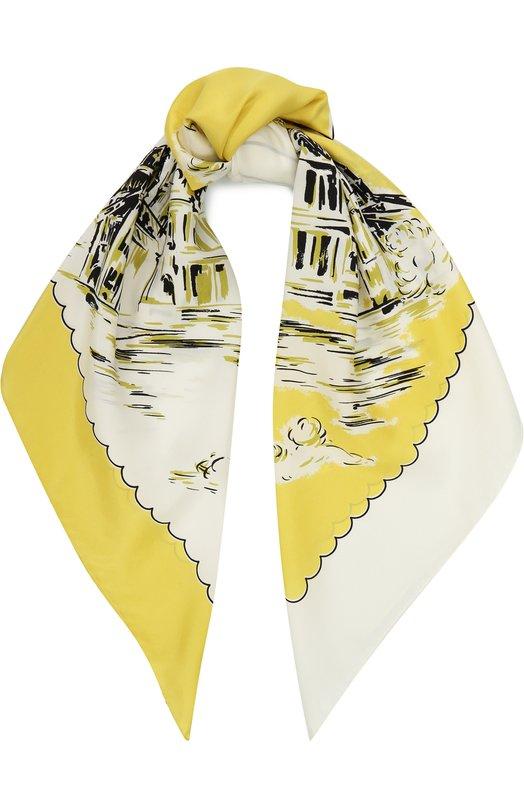 Купить Шелковый платок с принтом Burberry, 4065434, Италия, Желтый, Шелк: 100%;