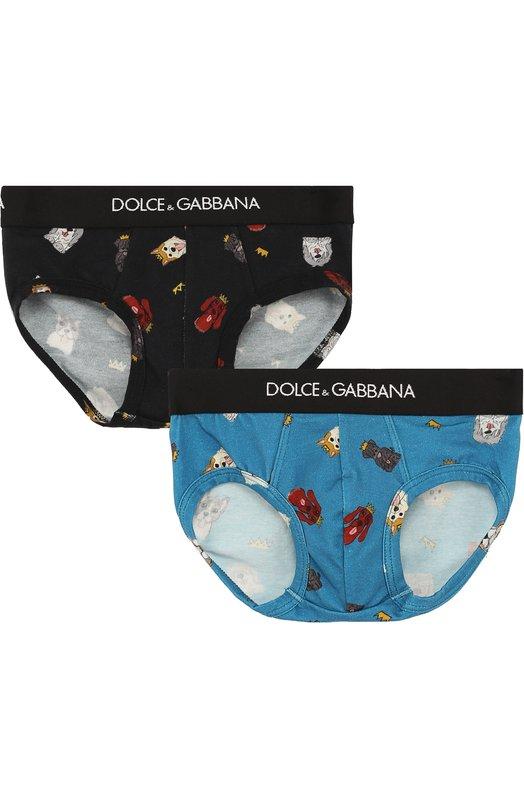 Купить Хлопковый комплект из двух трусов Dolce & Gabbana, L4J700/G70BU, Италия, Разноцветный, Хлопок: 94%; Эластан: 6%;