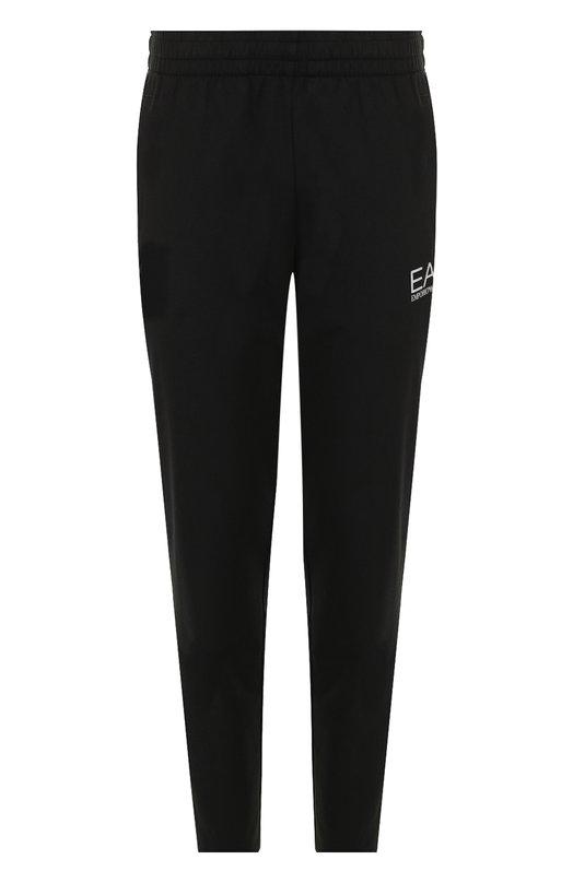 Хлопковые брюки прямого кроя с поясом на резинке Ea 7