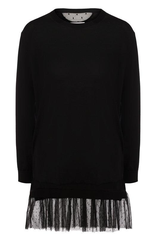 Пуловер из смеси кашемира и шелка с оборкой REDVALENTINO