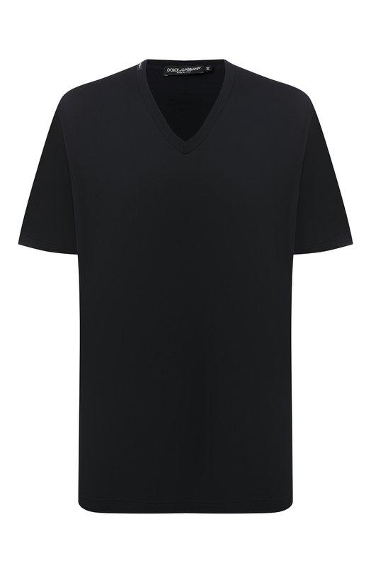 Купить Хлопковая футболка с V-образным вырезом Dolce & Gabbana, G8HA0T/FU7EQ, Италия, Синий, Хлопок: 100%;