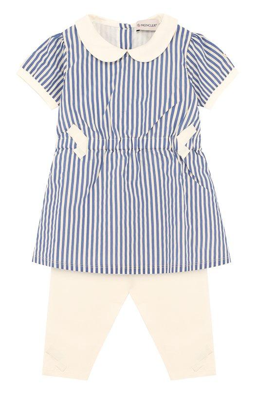 Купить Хлопковый комплект из платья и брюк Moncler Enfant, D1-951-88565-05-549CC, Португалия, Синий, Хлопок: 91%; Эластан: 9%; Вискоза: 40%; Полиамид: 18%; Подкладка-хлопок: 100%;